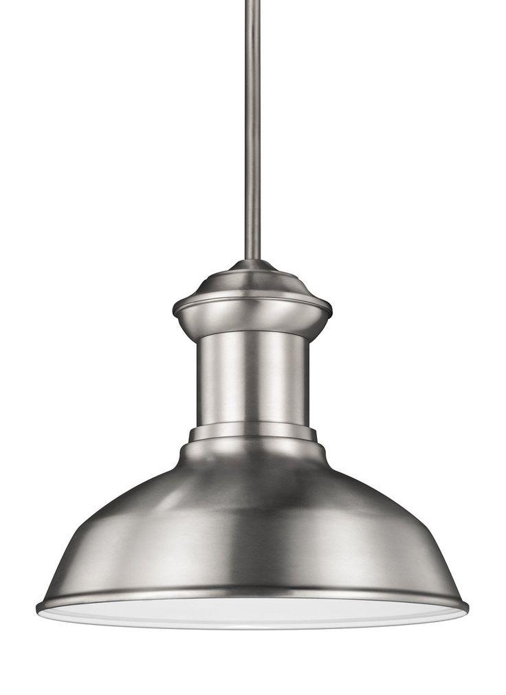 Sea gull lighting 6247791s 04 fredricksburg led 13 inch satin aluminum outdoor pendant