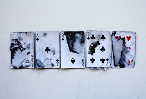 7 Hearts - Byron, 7 Clubs - Mary, 2 Spades - Clara, Ace Clubs - Tone, Joker…