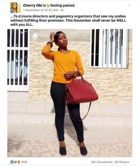 As seen on her facebook status This Nigerian lady Cherry Obi rain curses to all movie producers and pageantry organizers that have taken advantage of her.  One word for her Please!!