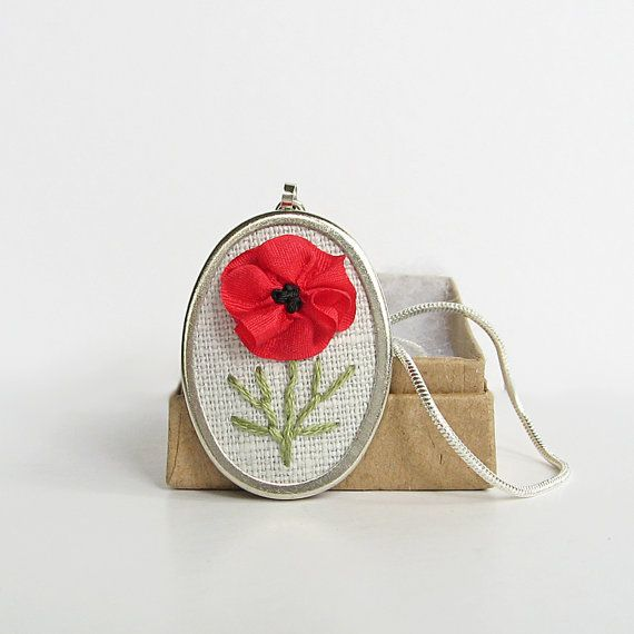 Red poppy necklace in silk ribbon embroidery by bstudio on Etsy, $35.00
