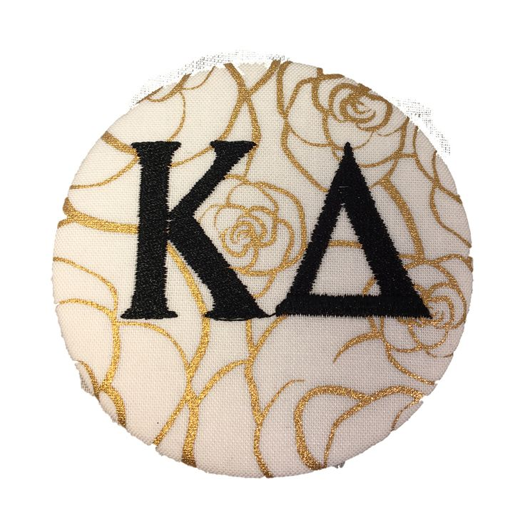 Kappa Delta Sorority Gold Rose Button with Black Writing - Brothers and Sisters' Greek Store