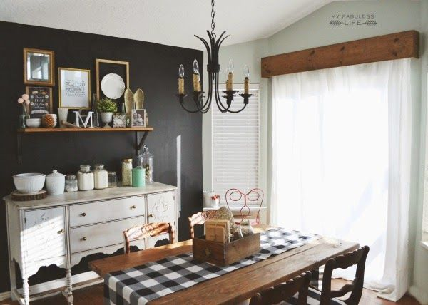 My Fabuless Life: HOW TO BUILD A WOOD CORNICE BOX Love this rustic farmhouse dining room.