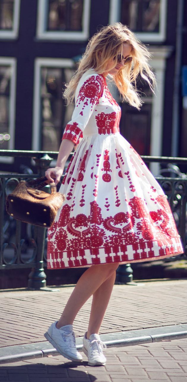 White Embroidered Dress Summer Style