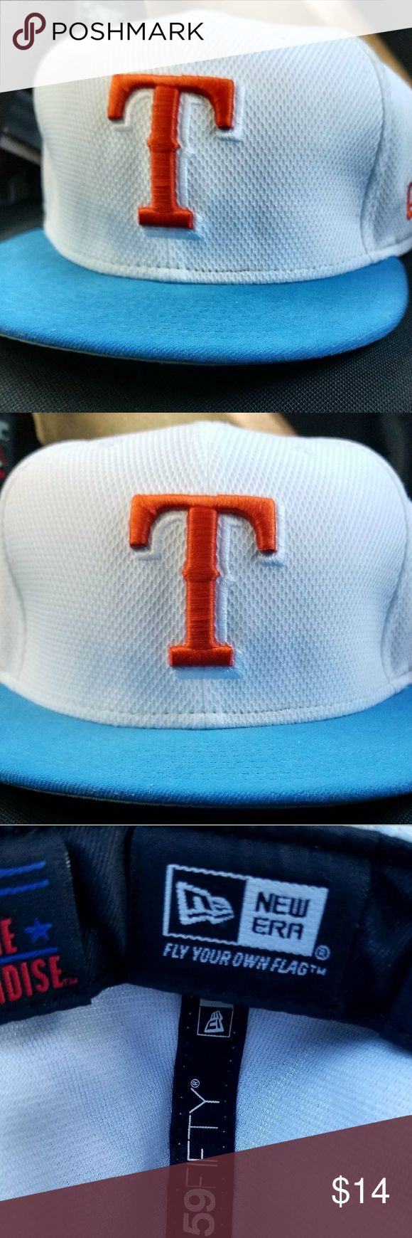 Texas Rangers 59fifty Fitted Cap Rare colors Orange and Baby Blue, excellent used condition 59fifty Other