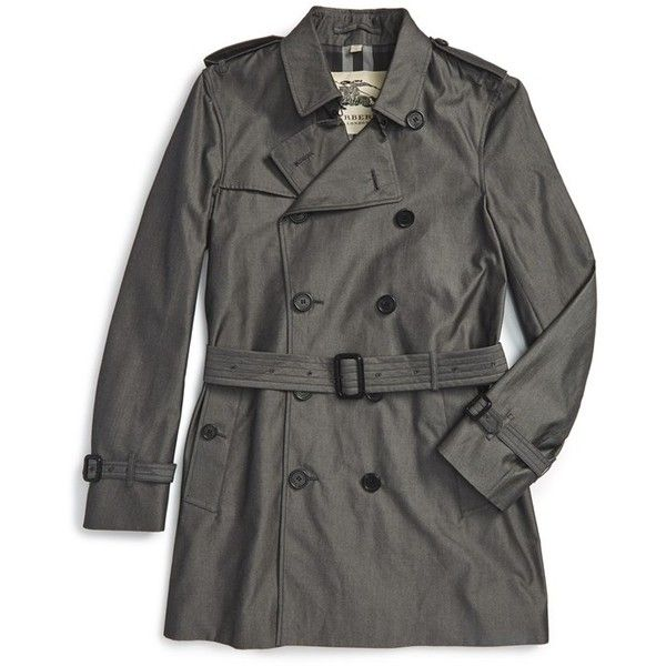 Burberry London 'Kensington' Double Breasted Trench Coat (£1,230) ❤ liked on Polyvore featuring men's fashion, men's clothing, men's outerwear, men's coats, slate grey, mens double breasted trench coat, mens trench coat, mens double breasted coat, mens fur collar coat and burberry mens coat