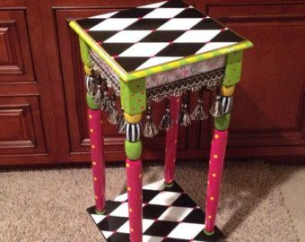 Hand Painted Accent side table black and white harlequin