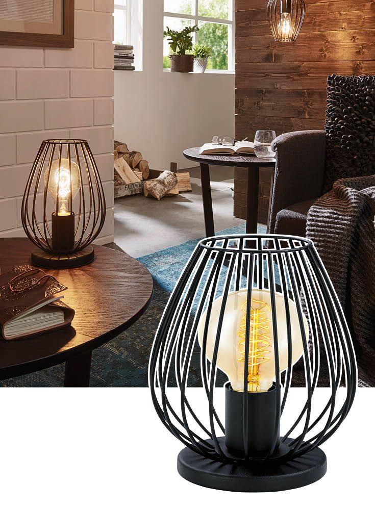 Epic Schwarze Tischlampe aus Metall Die runde Form passt sowohl zu Einrichtungen im Industrial Stil