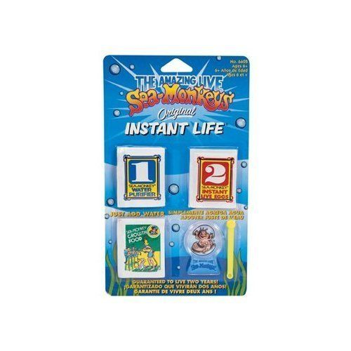 Sea Monkey Orig Instant Life by Schylling. $9.99. May be used as a refill and Sea Monkeys' Food kit for our other Sea Monkey sets.. Kit contains aquarium, water purifier, instant life eggs, and growth food. Your Sea Monkey pets may live up to two years. The original, amazing live Sea Monkeys. This basic starter kit introduces you to the wet, wonderful, amazing Sea Monkey world!. This basic starter set introduces you to the wet, wonderful, amazing Sea-Monkey world!