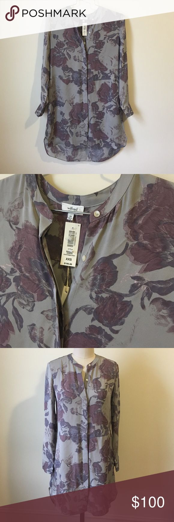 • Wilfred floral 100% silk dress size XXS-S• Used once!! Loose fitting can fit up to size S. 0-4. Bossut dress from Wilfred. Sold at aritzia. 195 retail price. 100% silk Aritzia Dresses