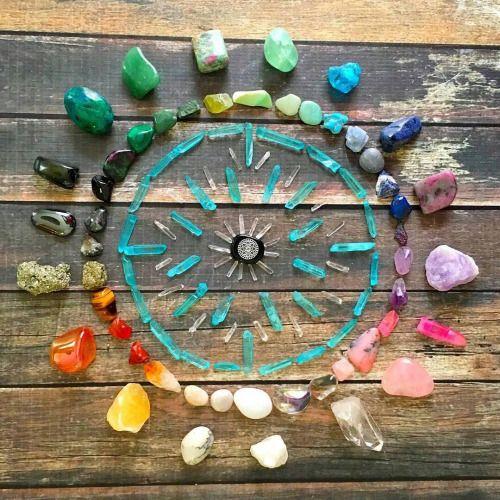 A rainbow circle of crystals.