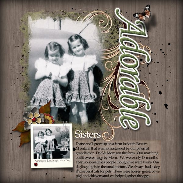Adorable by Linda Holden. Kit: Adorable Artblends by Lora Speiser http://scrapbird.com/designers-c-73/k-m-c-73_516/lora-speiser-c-73_516_512/artblends-adorable-page-template-plus-p-15948.html
