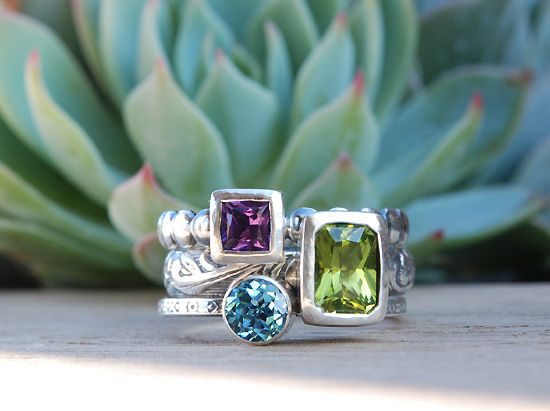 olive bungalow june - stacked ring.  Great idea for putting kids birthstones in a ring!