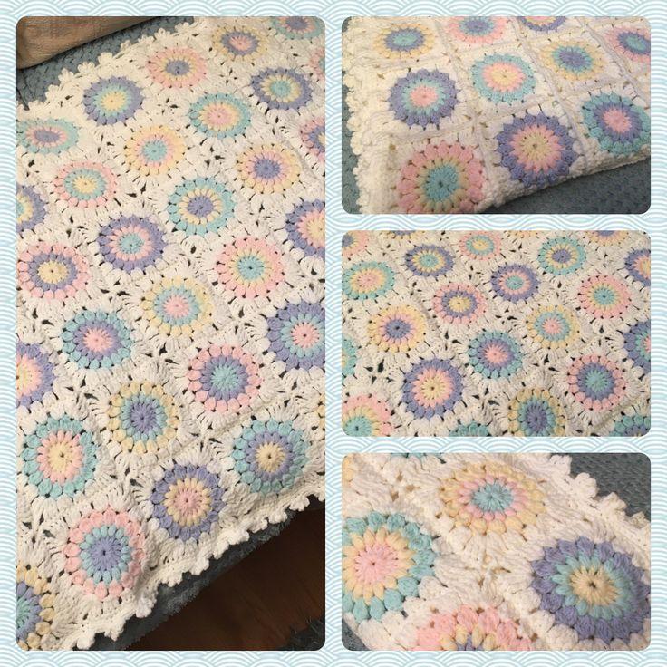 Neutral baby blanket. Sunburst granny square in paintbox baby dk.