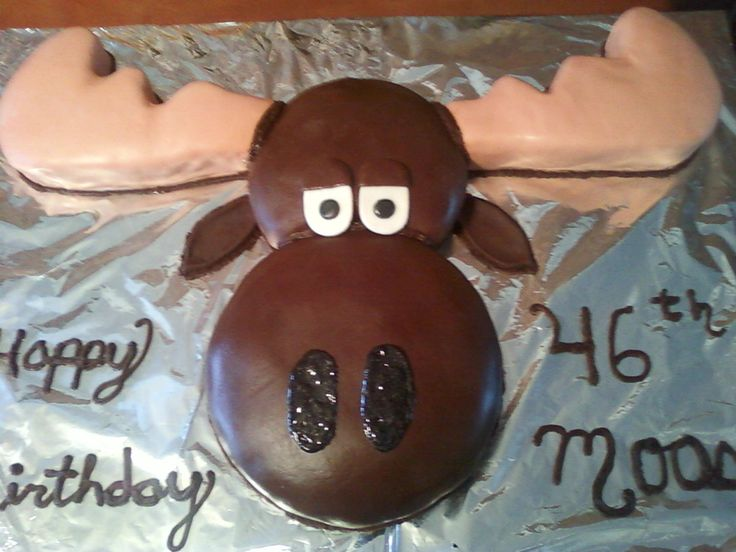 I made this moose cake for a friend who's nickname is moose. I shaped it and pieced it together and covered it with fondant.