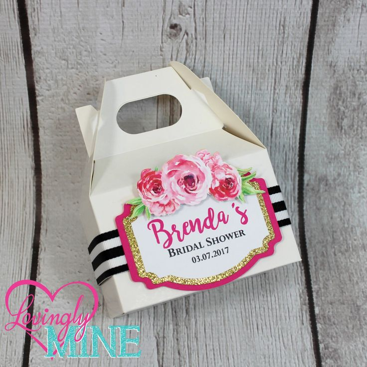 Kate Spade Inspired Mini Gable Favor Boxes - Set of 10 - Hot Pink, Glitter Gold and Black & White Stripes with Roses and Peonies - Bridal Shower, Birthday by LovinglyMine on Etsy