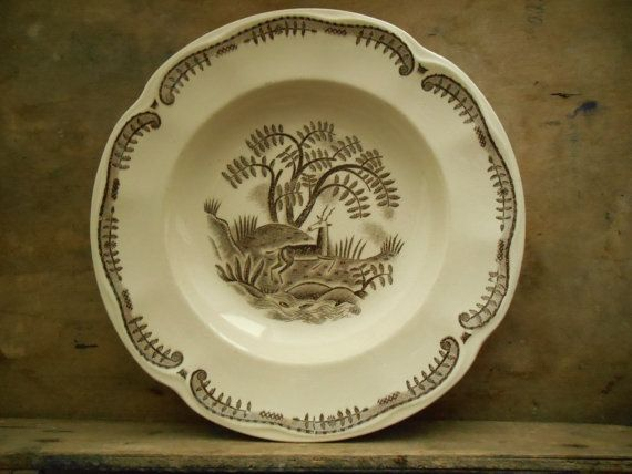 Antique Gefle Tibet soup plate White brown plate by TasteVintage