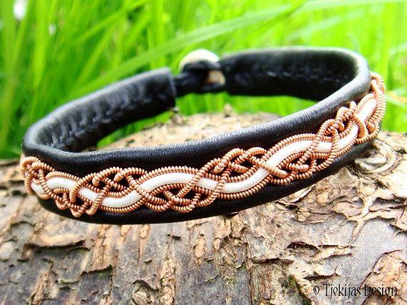 Tjekijas Sami Viking Bracelet HUGINN Custom Handmade with Spun Copper Wire and White Leather Cord on silksoft Black Reindeer Leather.