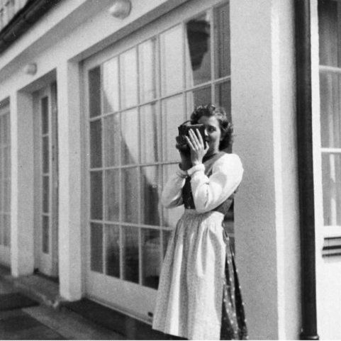 Eva Braun filming at the Berghof. (via gentleman-blackbird)