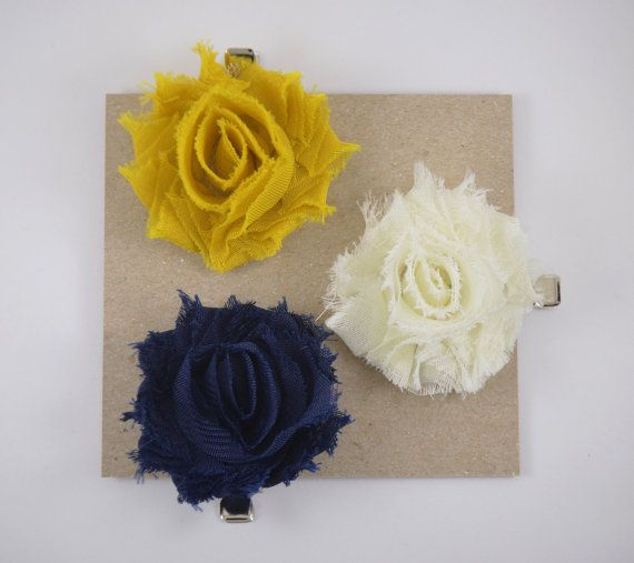 Hair Clips - Set of Three - Mustard Yellow, Ivory and Navy- Small Hair Clips - Toddler Hair Clips - Adult Hair Clips - Baby Clips - Flowers