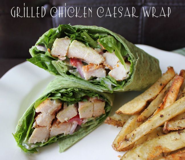 Chicken Ceasar Wrap - I'd use rotisserie chicken and Kraft Light Ceasar Dressing because that's how I roll.