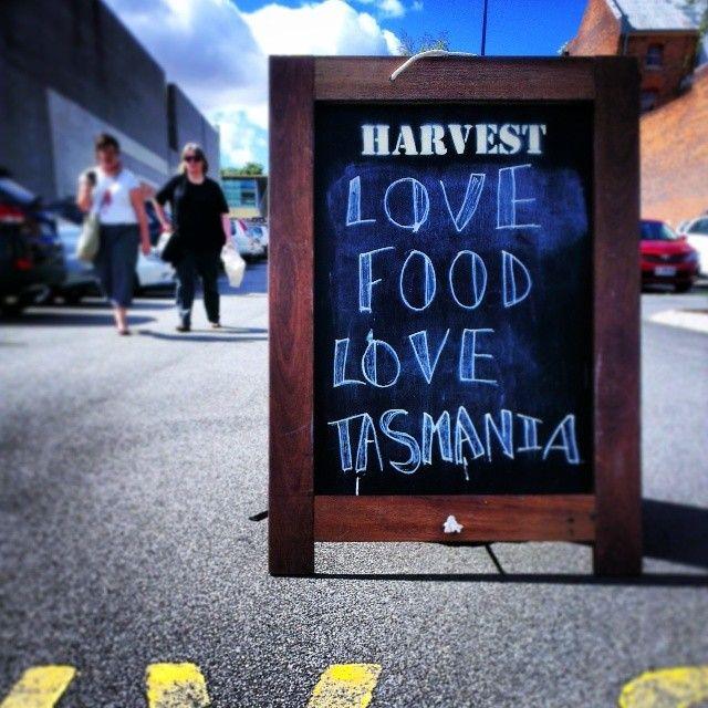 This sign at Launceston's Harvest Market sums it up: if you love food, you'll love Tasmania. #tasmania #discovertasmania Image Credit: Tiga Bu