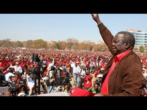 """Zimbabwe's opposition holds final election rally Zimbabwe's leading opposition party Movement for Democratic Change (MDC) holds its final election rally in Harare. Speaking at what's thought to be the country's largest ever election rally, leader Morgan Tsvangirai said he hoped President Mugabe would enjoy his retirement: """"It's time for new blood and new ideas,"""" he told jubilant crowds. Around 100,000 people are thought to have turned out to support the Movement."""