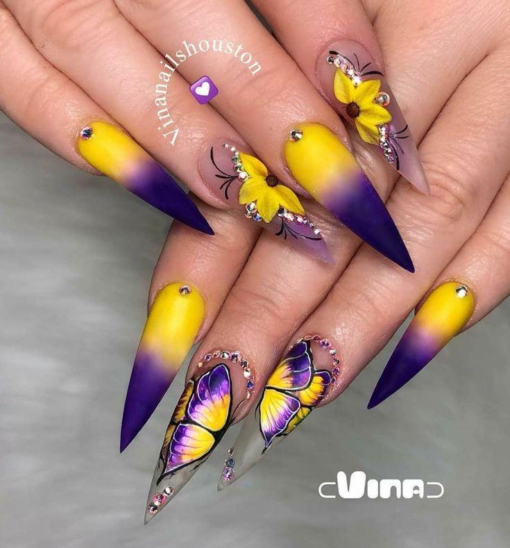 lila und gelbe Stiletto Nägel Kunst Design, Acryl Stiletto Nägel lang, edel … – stiletto nails