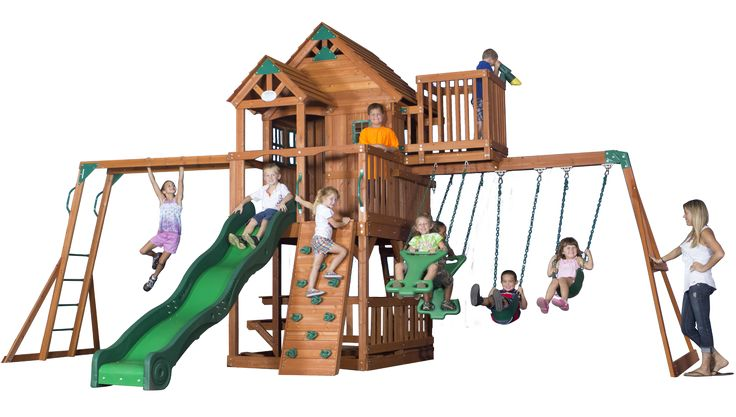 Skyfort swingset with raised clubhouse, swings, slide, crow's nest, and monkey bars