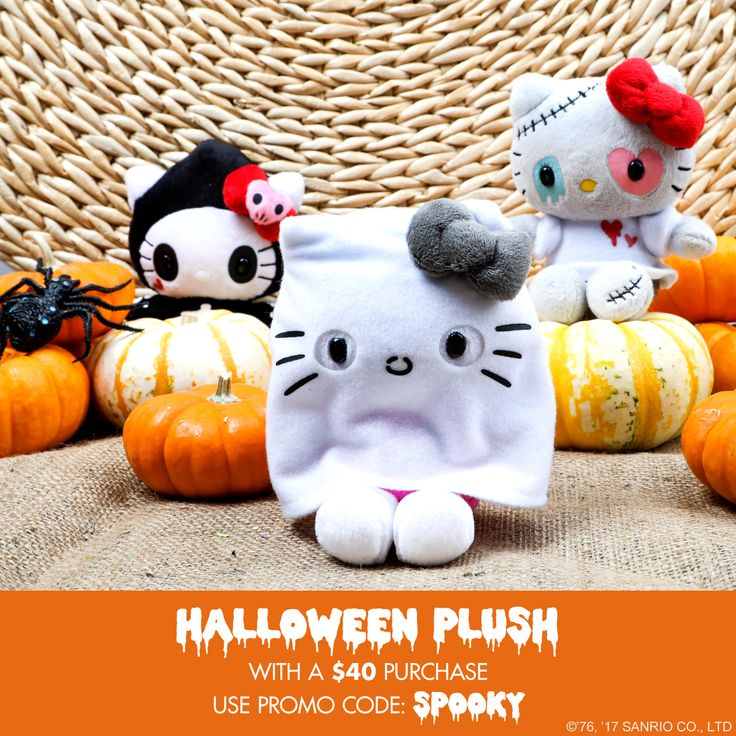 We wouldn't trick you, here's a treat! Get a free Hello Kitty Halloween Plush with any online purchase of $40 or more. Use Promo Code: SPOOKY