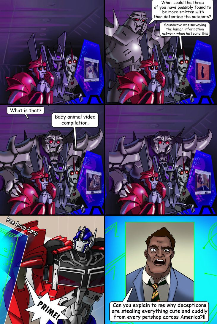 Love Transformers Prime, but the first time I saw Megatron in that dramatic introduction I exploded into laughter because of how skewed his eyes were. Then of course, this ensued in my head later.