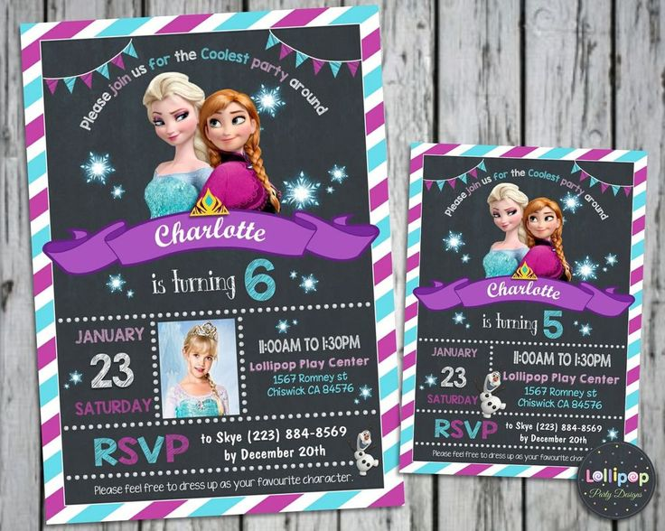 FROZEN BIRTHDAY INVITATIONS CARDS ELSA ANNA PARTY PHOTO INVITES SNOW QUEEN #CUSTOMINVITATIONS #BIRTHDAYPARTIES