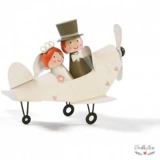shabbyflair - Brautpaar im Flugzeug - Ideal zum Verpacken eines Geldgeschenks, das für die Hochzeitsreise verwendet werden soll.