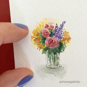 Little love, miniature watercolor, flower, roses, vase, bouquet / Amor em miniatura, aquarela emoldurada,  flores, vaso / Adriana Galindo - shop: drigalindo1@gmail.com
