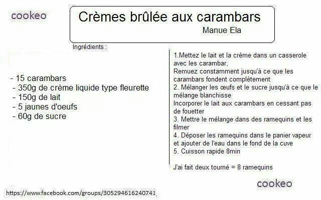 Creme brulee aux carambars (Cookeo)