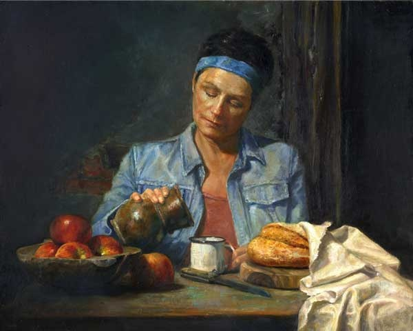 "breakfast 16"" x 20"" Oil/Acrylic Oleg Radvan"