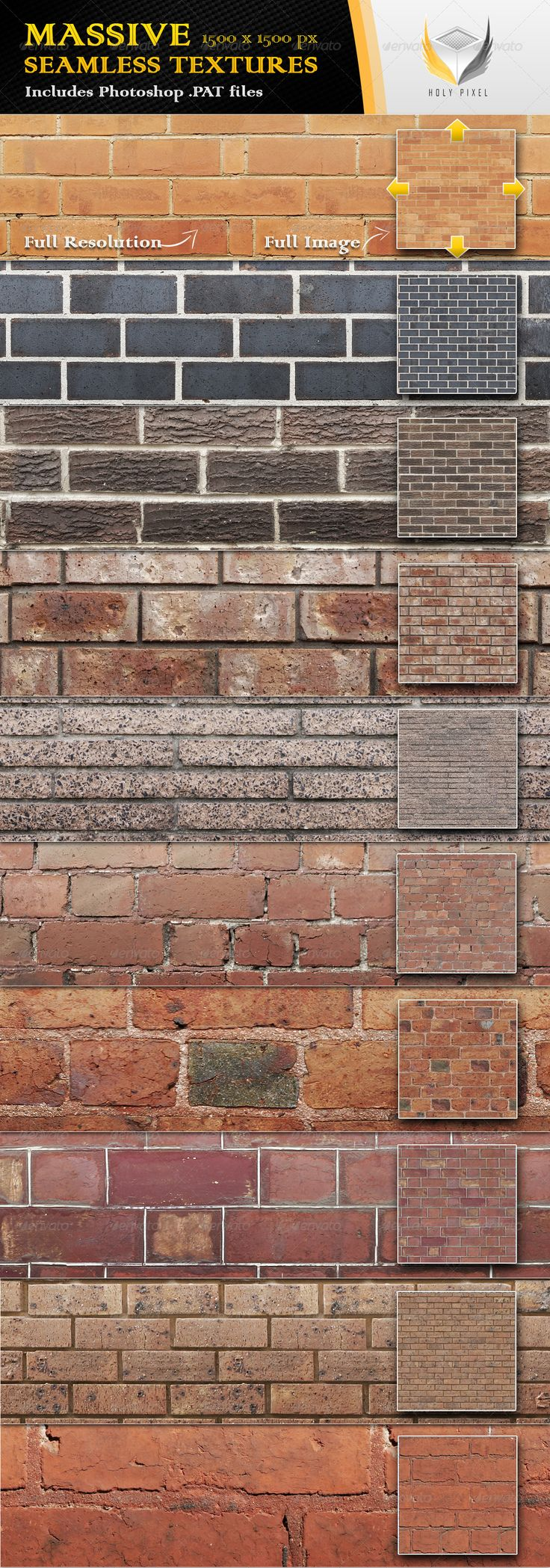 10 Seamless Clean Brick Textures #GraphicRiver All 10 textures in this file have been designed at the massive resolution of 1500×1500px so that you can scale them all the way from close up detail of the content out to a fine repeating pattern. The download itself contains; 10 full color jpg files 1 Photoshop PAT file including 10 patterns A detailed help file for using the .PAT file in Photoshop The textures can be used when designing; Web pages Twitter pages 3D Animation 3D Visualisation…
