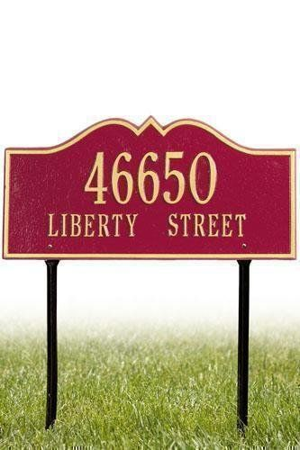 Hillsboro Two-Line Estate Lawn Address Plaque - estate/two line, Red by Home Decorators Collection. $239.00. Hillsboro Two-Line Estate Lawn Address Plaque - It's Your Own Little Corner Of The World - So Why Not Mark It With Pride? A House Sign Announces A Message Of Distinction. These Premium, Textured And Dimensional Address Plaques Are Designed With Large Letters And Numbers For Maximum Visibility. Choose From Our Exceptional Array Of Custom Address Plaques To Find The House S...