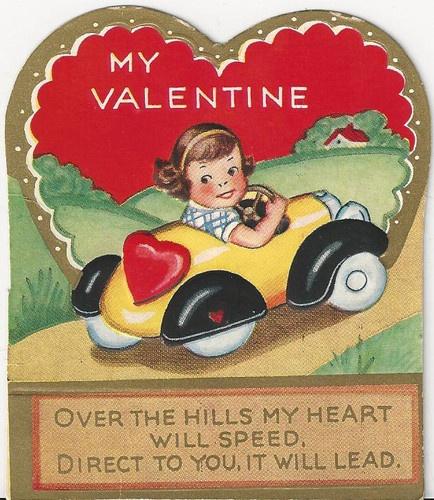 girl with car vintage valentine card