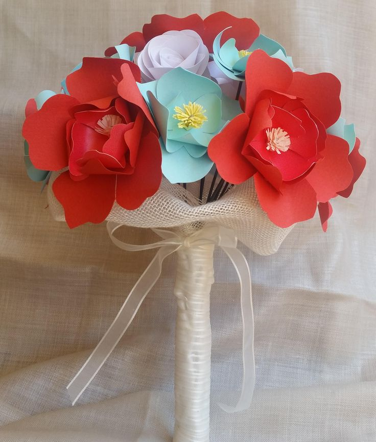 Bouquet Carta Sposa Corallo Azzurro di PimpinellaCrea su Etsy