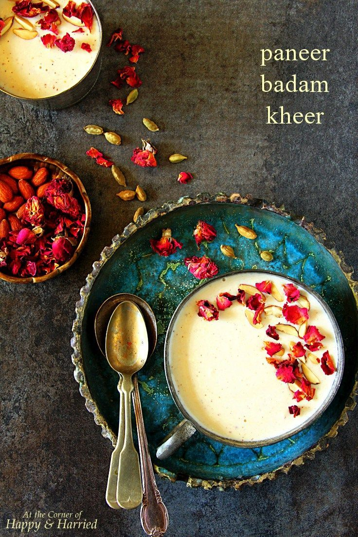 Paneer Badam Kheer recipe for a vegetarian dessert or pudding - Try it with a splash of Bhakti!