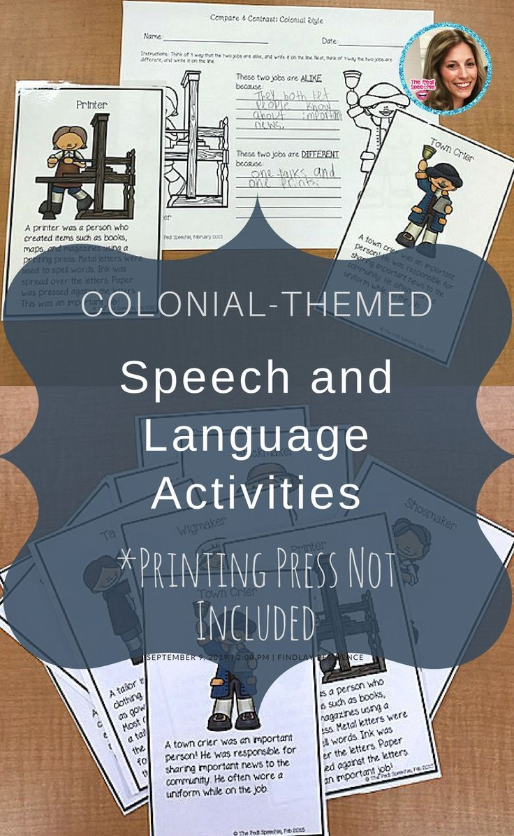 I am ALWAYS looking for speech and language activities that go along with what kids are talking about in their class! It'll be fun to have speech and language activities that pair with colonial-times :)