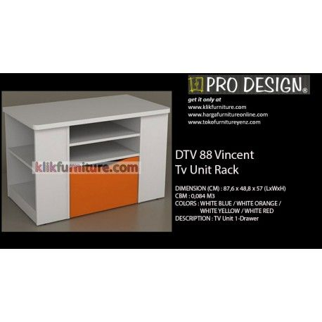 "DTV 88 Vincent Pro Design Tv Unit Condition:  New product  DIMENSION (CM) : 87,6 x 48,8 x 57 (LxWxH) COLORS : WHITE BLUE / WHITE ORANGE / WHITE YELLOW / WHITE RED DESCRIPTION :Tv Unit Rack/ Rak Tv ""cek harga"", hubungi kami jika ada yang lebih murah"