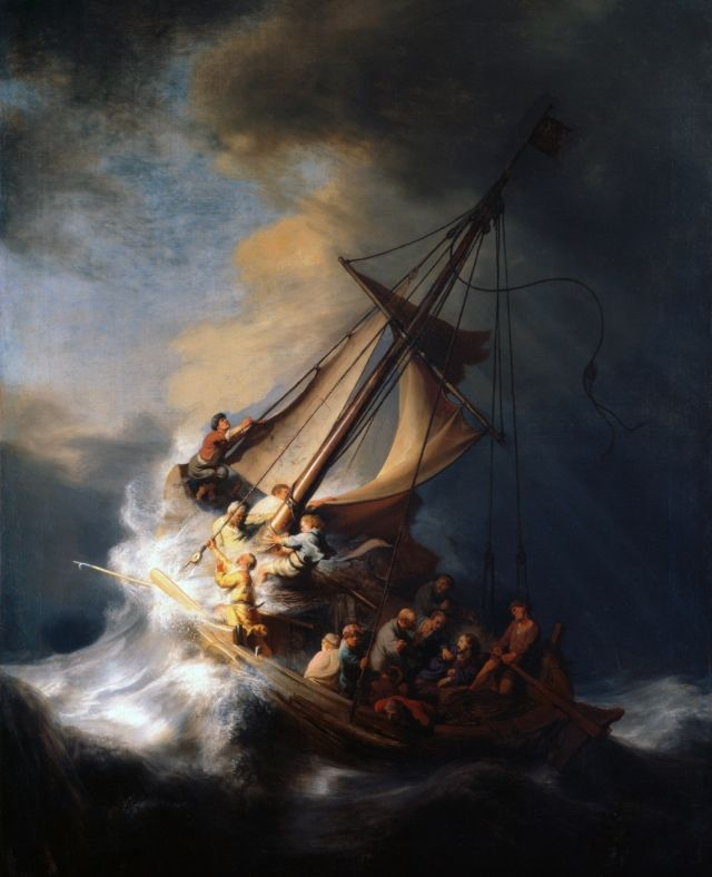 "life-imitates-art-far-more: ""Rembrandt (1606-1669) ""The Storm on the Sea of Galilee"" (1633) Oil on canvas Dutch Golden Age Whereabouts unknown since the Isabella Stewart Gardner Museum theft in 1990 """