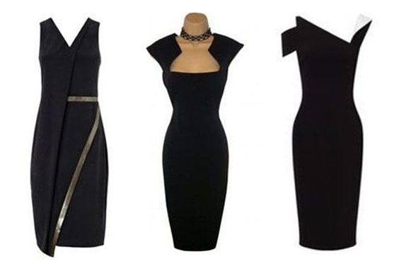 Little black dress for Dramatic Classic Kibbe body type. Geometry and asymmetry.