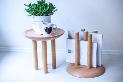 Shroom Side table turns into a newspaper holder