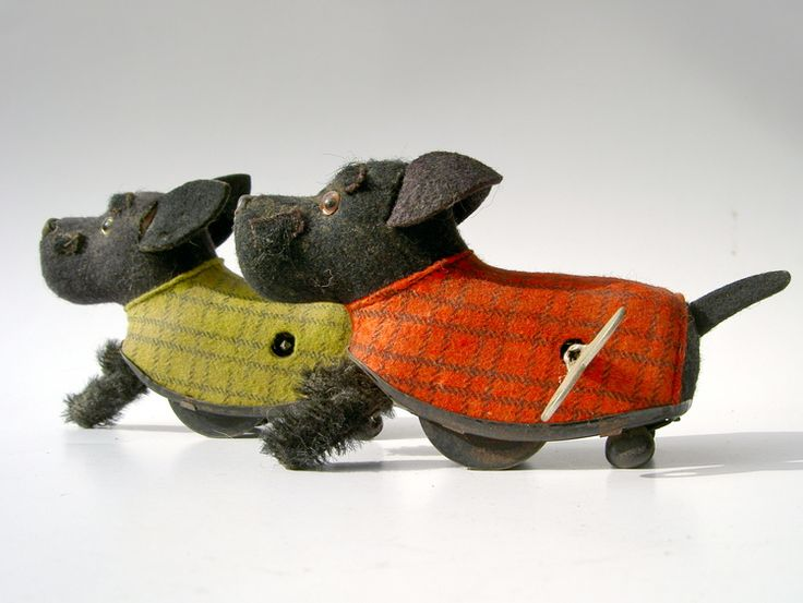 These cloth covered Schuco scotties were made in Germany, via konsumerismrunamok.com