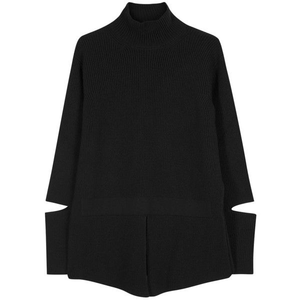Womens Jumpers Stella McCartney Black Ribbed Wool Jumper found on Polyvore