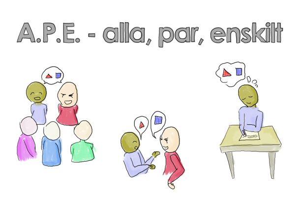 Strukturen A.P.E - Alla, par, enskilt eller omvänd EPA är en struktur där du som lärare bygger upp en modell eller ramverk och för en helklassdiskussion där du steg för steg lägger över arbetet till den enskilde eleven. Kooperativt lärande