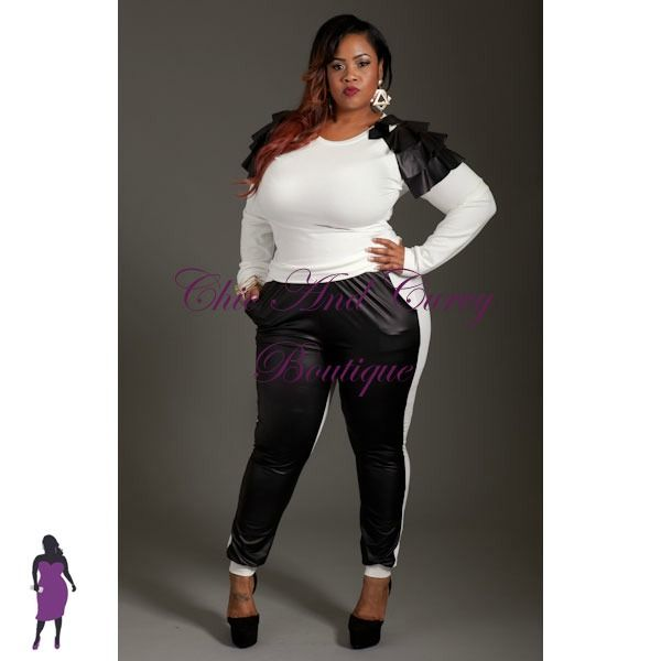 New Plus Size 2 Piece Liquid and Sweater Set in Cream available at ...