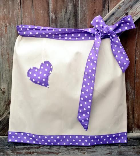Retro Heart PURPLE SPOTTY APRON Plus Size Any by VintageFromChris
